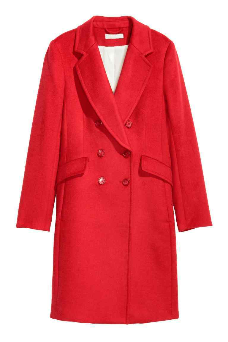 Coat In A Wool Blend - pattern: plain; style: double breasted; collar: standard lapel/rever collar; length: mid thigh; predominant colour: true red; occasions: casual; fit: tailored/fitted; fibres: wool - mix; sleeve length: long sleeve; sleeve style: standard; collar break: medium; pattern type: fabric; texture group: woven bulky/heavy; season: a/w 2016; wardrobe: highlight