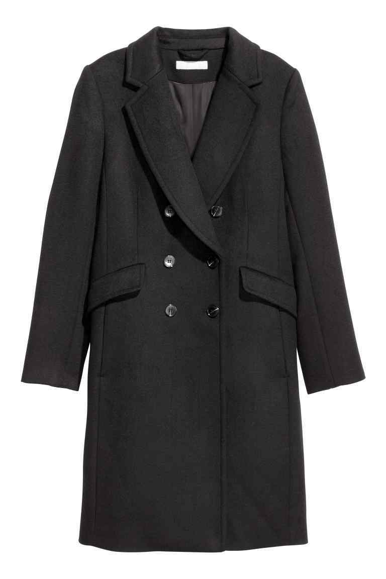 Coat In A Wool Blend - pattern: plain; style: double breasted; collar: standard lapel/rever collar; length: mid thigh; predominant colour: black; occasions: casual; fit: tailored/fitted; fibres: wool - mix; sleeve length: long sleeve; sleeve style: standard; collar break: medium; pattern type: fabric; texture group: woven bulky/heavy; wardrobe: basic; season: a/w 2016