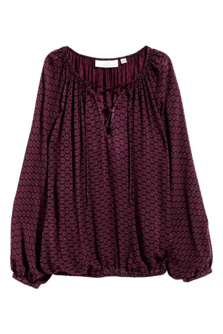 Patterned Blouse - neckline: pussy bow; style: blouse; predominant colour: aubergine; occasions: casual; length: standard; fibres: viscose/rayon - 100%; fit: loose; sleeve length: long sleeve; sleeve style: standard; pattern type: fabric; pattern: patterned/print; texture group: jersey - stretchy/drapey; season: a/w 2016; wardrobe: highlight