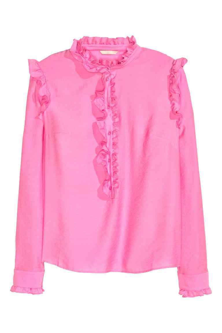 Frilled Blouse - pattern: plain; neckline: high neck; shoulder detail: tiers/frills/ruffles; style: blouse; predominant colour: pink; occasions: casual; length: standard; fibres: viscose/rayon - 100%; fit: body skimming; sleeve length: long sleeve; sleeve style: standard; bust detail: tiers/frills/bulky drapes/pleats; pattern type: fabric; texture group: other - light to midweight; season: a/w 2016; wardrobe: highlight