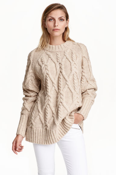 Cable Knit Jumper - neckline: high neck; length: below the bottom; style: standard; pattern: cable knit; predominant colour: nude; occasions: casual; fibres: acrylic - mix; fit: loose; sleeve length: long sleeve; sleeve style: standard; texture group: knits/crochet; pattern type: knitted - other; season: a/w 2016; wardrobe: highlight