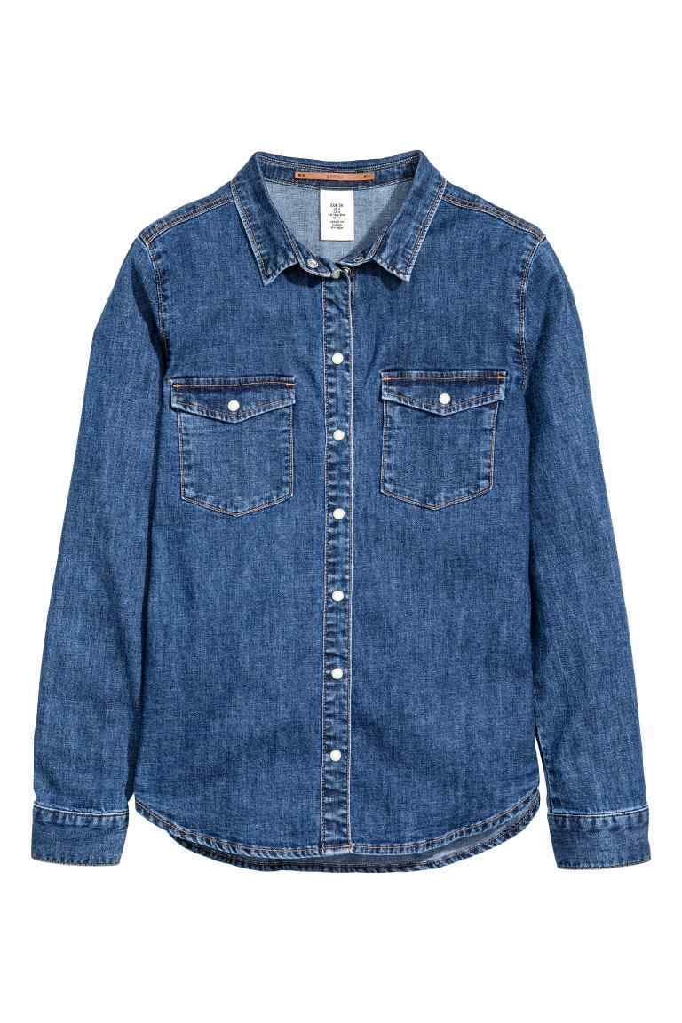 Denim Shirt - neckline: shirt collar/peter pan/zip with opening; pattern: plain; style: shirt; predominant colour: navy; occasions: casual; length: standard; fibres: cotton - stretch; fit: body skimming; sleeve length: long sleeve; sleeve style: standard; texture group: denim; pattern type: fabric; season: a/w 2016