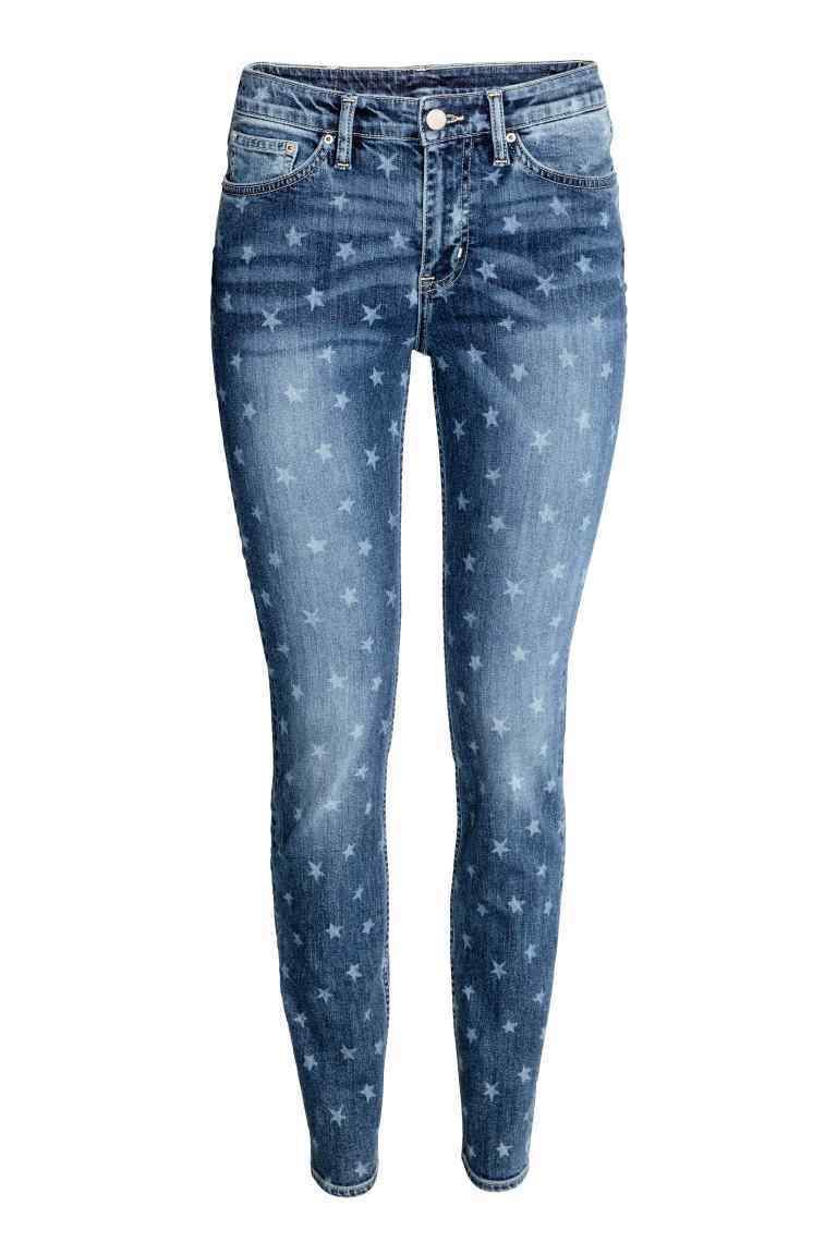 Skinny Regular Jeans - style: skinny leg; length: standard; pattern: polka dot; pocket detail: traditional 5 pocket; waist: mid/regular rise; predominant colour: navy; occasions: casual; fibres: cotton - stretch; jeans detail: whiskering, washed/faded; texture group: denim; pattern type: fabric; season: a/w 2016