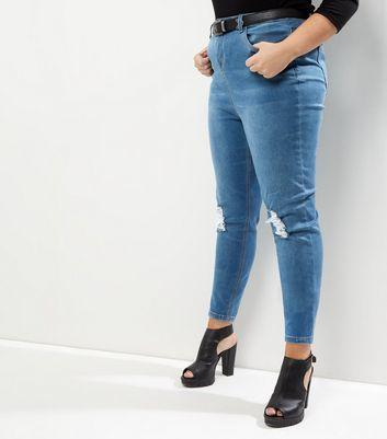 Curves Blue Ripped Knee Skinny Jeans - style: skinny leg; length: standard; pattern: plain; pocket detail: traditional 5 pocket; waist: mid/regular rise; predominant colour: denim; occasions: casual; fibres: cotton - stretch; texture group: denim; pattern type: fabric; jeans detail: rips; wardrobe: basic; season: a/w 2016