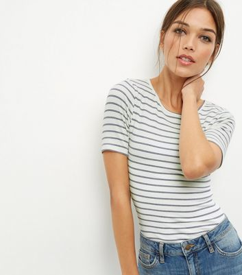 White Stripe Ribbed Top - pattern: horizontal stripes; predominant colour: white; secondary colour: mid grey; occasions: casual; length: standard; style: top; fibres: cotton - mix; fit: body skimming; neckline: crew; sleeve length: short sleeve; sleeve style: standard; pattern type: fabric; pattern size: standard; texture group: jersey - stretchy/drapey; multicoloured: multicoloured; wardrobe: basic; season: a/w 2016