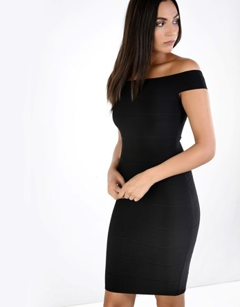 Bardot Bandage Dress - neckline: off the shoulder; sleeve style: capped; fit: tight; pattern: plain; style: bodycon; hip detail: draws attention to hips; predominant colour: black; occasions: evening; length: just above the knee; fibres: viscose/rayon - stretch; sleeve length: short sleeve; texture group: jersey - clingy; pattern type: fabric; season: a/w 2016; wardrobe: event