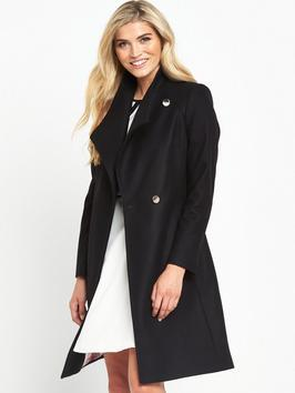 Long Wrap Collar Coat - pattern: plain; collar: wide lapels; fit: loose; style: wrap around; length: mid thigh; predominant colour: black; occasions: casual; fibres: wool - mix; sleeve length: long sleeve; sleeve style: standard; collar break: low/open; pattern type: fabric; texture group: other - bulky/heavy; wardrobe: basic; season: a/w 2016