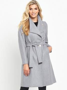 Long Warp Collar Coat - pattern: plain; collar: wide lapels; length: on the knee; style: wrap around; fit: slim fit; predominant colour: light grey; occasions: casual; fibres: polyester/polyamide - 100%; waist detail: belted waist/tie at waist/drawstring; sleeve length: long sleeve; sleeve style: standard; texture group: knits/crochet; collar break: medium; pattern type: knitted - other; wardrobe: basic; season: a/w 2016