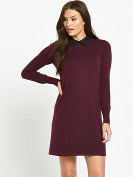 Embellished Collar Swing Dress - style: shift; length: mid thigh; pattern: plain; predominant colour: aubergine; secondary colour: black; occasions: evening, creative work; fit: body skimming; fibres: polyester/polyamide - 100%; neckline: no opening/shirt collar/peter pan; sleeve length: long sleeve; sleeve style: standard; pattern type: fabric; texture group: jersey - stretchy/drapey; multicoloured: multicoloured; season: a/w 2016; wardrobe: highlight