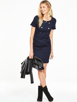 Shift Dress - style: shift; neckline: round neck; pattern: plain; predominant colour: navy; occasions: evening; length: just above the knee; fit: body skimming; fibres: polyester/polyamide - 100%; sleeve length: short sleeve; sleeve style: standard; pattern type: fabric; texture group: jersey - stretchy/drapey; season: a/w 2016; wardrobe: event