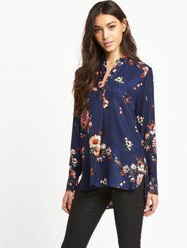 Painted Floral Placket Blouse - length: below the bottom; style: shirt; secondary colour: ivory/cream; predominant colour: navy; occasions: casual; neckline: collarstand & mandarin with v-neck; fibres: polyester/polyamide - 100%; fit: body skimming; sleeve length: long sleeve; sleeve style: standard; pattern type: fabric; pattern: florals; texture group: other - light to midweight; multicoloured: multicoloured; season: a/w 2016; wardrobe: highlight; trends: opulent prints