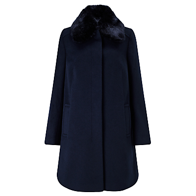Jenny Detachable Faux Fur Collar Coat - pattern: plain; fit: loose; style: single breasted; length: mid thigh; predominant colour: navy; occasions: work; fibres: polyester/polyamide - 100%; collar: shirt collar/peter pan/zip with opening; sleeve length: long sleeve; sleeve style: standard; collar break: high; pattern type: fabric; texture group: woven bulky/heavy; embellishment: fur; season: a/w 2016; wardrobe: highlight