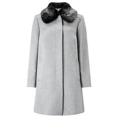 Jenny Detachable Faux Fur Collar Coat - pattern: plain; fit: loose; style: single breasted; length: mid thigh; predominant colour: light grey; secondary colour: black; occasions: work, creative work; fibres: polyester/polyamide - 100%; collar: shirt collar/peter pan/zip with opening; sleeve length: long sleeve; sleeve style: standard; collar break: high; pattern type: fabric; pattern size: standard; texture group: woven bulky/heavy; embellishment: fur; season: a/w 2016; wardrobe: highlight
