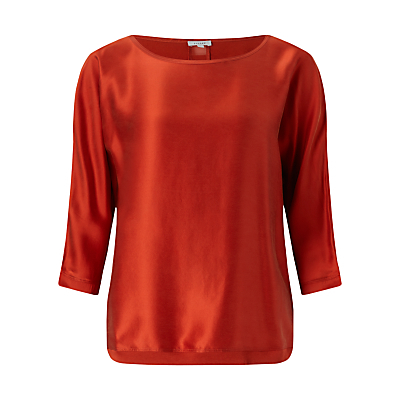 Satin Batwing Top - neckline: round neck; sleeve style: dolman/batwing; pattern: plain; predominant colour: bright orange; occasions: evening, creative work; length: standard; style: top; fibres: cotton - mix; fit: body skimming; sleeve length: 3/4 length; texture group: structured shiny - satin/tafetta/silk etc.; pattern type: fabric; season: a/w 2016; wardrobe: highlight