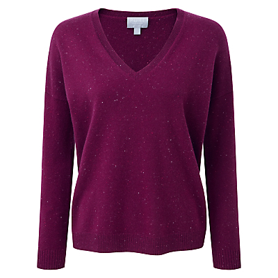 Mary Relaxed Jumper, Berry Fleck - neckline: v-neck; pattern: plain; style: standard; predominant colour: aubergine; occasions: casual, work, creative work; length: standard; fit: standard fit; fibres: cashmere - 100%; sleeve length: long sleeve; sleeve style: standard; texture group: knits/crochet; pattern type: knitted - fine stitch; season: a/w 2016; trends: chunky knits