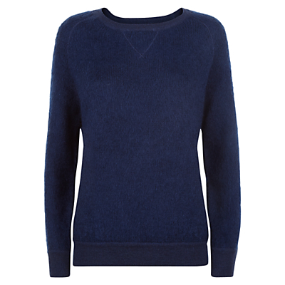 Wool Mohair Sweatshirt, Denim - neckline: round neck; pattern: plain; style: sweat top; predominant colour: denim; occasions: casual; length: standard; fibres: wool - mix; fit: body skimming; sleeve length: long sleeve; sleeve style: standard; pattern type: fabric; texture group: jersey - stretchy/drapey; season: a/w 2016; wardrobe: highlight