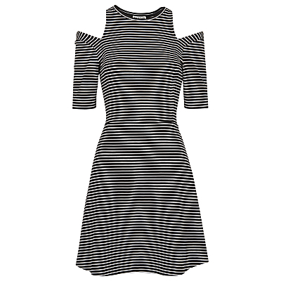 Stripe Cut Out Dress, Black & White - pattern: striped; secondary colour: white; predominant colour: black; occasions: evening; length: just above the knee; fit: fitted at waist & bust; style: fit & flare; fibres: viscose/rayon - stretch; neckline: crew; shoulder detail: cut out shoulder; sleeve length: half sleeve; sleeve style: standard; pattern type: fabric; texture group: jersey - stretchy/drapey; multicoloured: multicoloured; season: a/w 2016; wardrobe: event