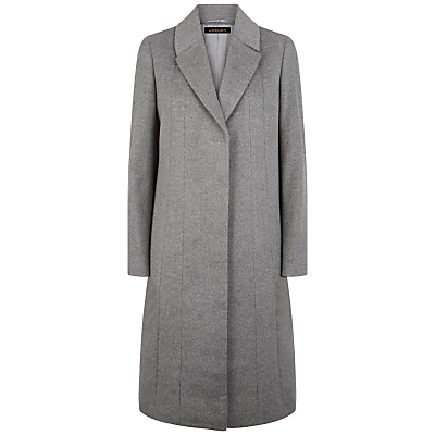 Wool A Line Coat, Grey Melange - pattern: plain; style: single breasted; collar: standard lapel/rever collar; length: mid thigh; predominant colour: mid grey; occasions: work; fit: straight cut (boxy); fibres: wool - mix; sleeve length: long sleeve; sleeve style: standard; collar break: medium; pattern type: fabric; texture group: woven bulky/heavy; season: a/w 2016