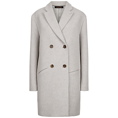 Double Breasted Coat, Grey Melange/Ivory - pattern: plain; style: double breasted; collar: standard lapel/rever collar; length: mid thigh; predominant colour: ivory/cream; occasions: work; fit: straight cut (boxy); fibres: wool - mix; sleeve length: long sleeve; sleeve style: standard; collar break: medium; pattern type: fabric; texture group: woven bulky/heavy; wardrobe: investment; season: a/w 2016