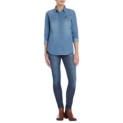 Regular Western Denim Shirt, Fresh Wash - neckline: shirt collar/peter pan/zip with opening; pattern: plain; length: below the bottom; style: shirt; predominant colour: denim; occasions: casual, creative work; fibres: cotton - 100%; fit: body skimming; sleeve length: long sleeve; sleeve style: standard; texture group: denim; pattern type: fabric; season: a/w 2016