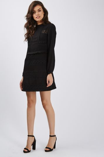 Patchwork Lace Shift Dress - style: shift; neckline: high neck; predominant colour: black; occasions: evening; length: just above the knee; fit: body skimming; sleeve length: long sleeve; sleeve style: standard; texture group: lace; pattern type: fabric; pattern size: standard; pattern: patterned/print; fibres: viscose/rayon - mix; trends: pretty girl; season: a/w 2016; wardrobe: event; embellishment location: waist