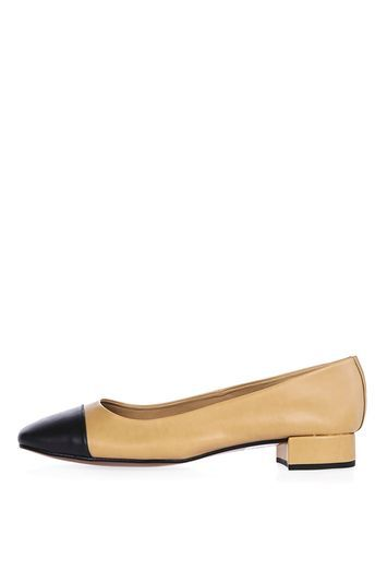 Annabel Square Toe Cap Shoe - predominant colour: nude; secondary colour: black; occasions: casual, work; material: faux leather; heel height: flat; toe: pointed toe; style: ballerinas / pumps; finish: patent; pattern: colourblock; multicoloured: multicoloured; season: a/w 2016; wardrobe: highlight