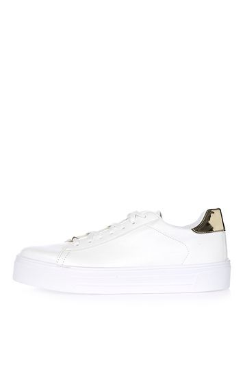 Commander White Flatforms - predominant colour: ivory/cream; secondary colour: gold; occasions: casual; material: faux leather; heel height: flat; toe: round toe; style: flatforms; finish: plain; pattern: plain; shoe detail: platform; multicoloured: multicoloured; season: a/w 2016; wardrobe: highlight