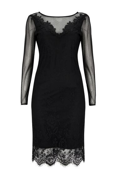 Black Crochet Lace Shift Dress - style: shift; neckline: round neck; predominant colour: black; occasions: evening; length: just above the knee; fit: body skimming; fibres: polyester/polyamide - 100%; sleeve length: long sleeve; sleeve style: standard; texture group: lace; pattern type: fabric; pattern size: standard; pattern: patterned/print; shoulder detail: sheer at shoulder; season: a/w 2016; trends: sparkle