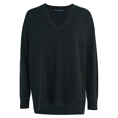 Babysoft V Neck Sweater, Brunswick Green - neckline: v-neck; pattern: plain; length: below the bottom; style: standard; predominant colour: dark green; occasions: casual, creative work; fit: loose; back detail: longer hem at back than at front; sleeve length: long sleeve; sleeve style: standard; texture group: knits/crochet; pattern type: knitted - fine stitch; fibres: nylon - stretch; season: a/w 2016; wardrobe: highlight; trends: chunky knits