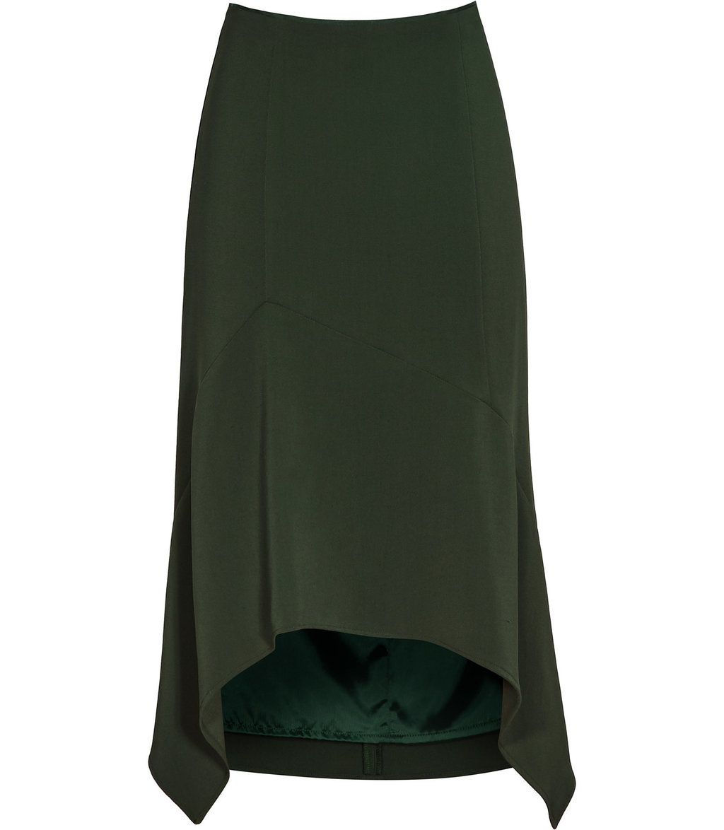 Autumn Womens Cutaway Skirt In Green - length: below the knee; pattern: plain; fit: loose/voluminous; waist: high rise; predominant colour: dark green; style: asymmetric (hem); fibres: viscose/rayon - stretch; hip detail: soft pleats at hip/draping at hip/flared at hip; pattern type: fabric; texture group: other - light to midweight; occasions: creative work; season: a/w 2016; wardrobe: highlight