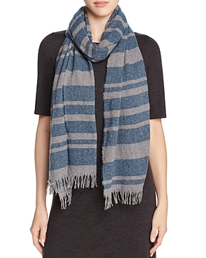 Rugby Stripe Scarf - predominant colour: navy; secondary colour: light grey; occasions: casual; type of pattern: heavy; style: regular; size: standard; material: knits; pattern: horizontal stripes; season: a/w 2016; wardrobe: highlight