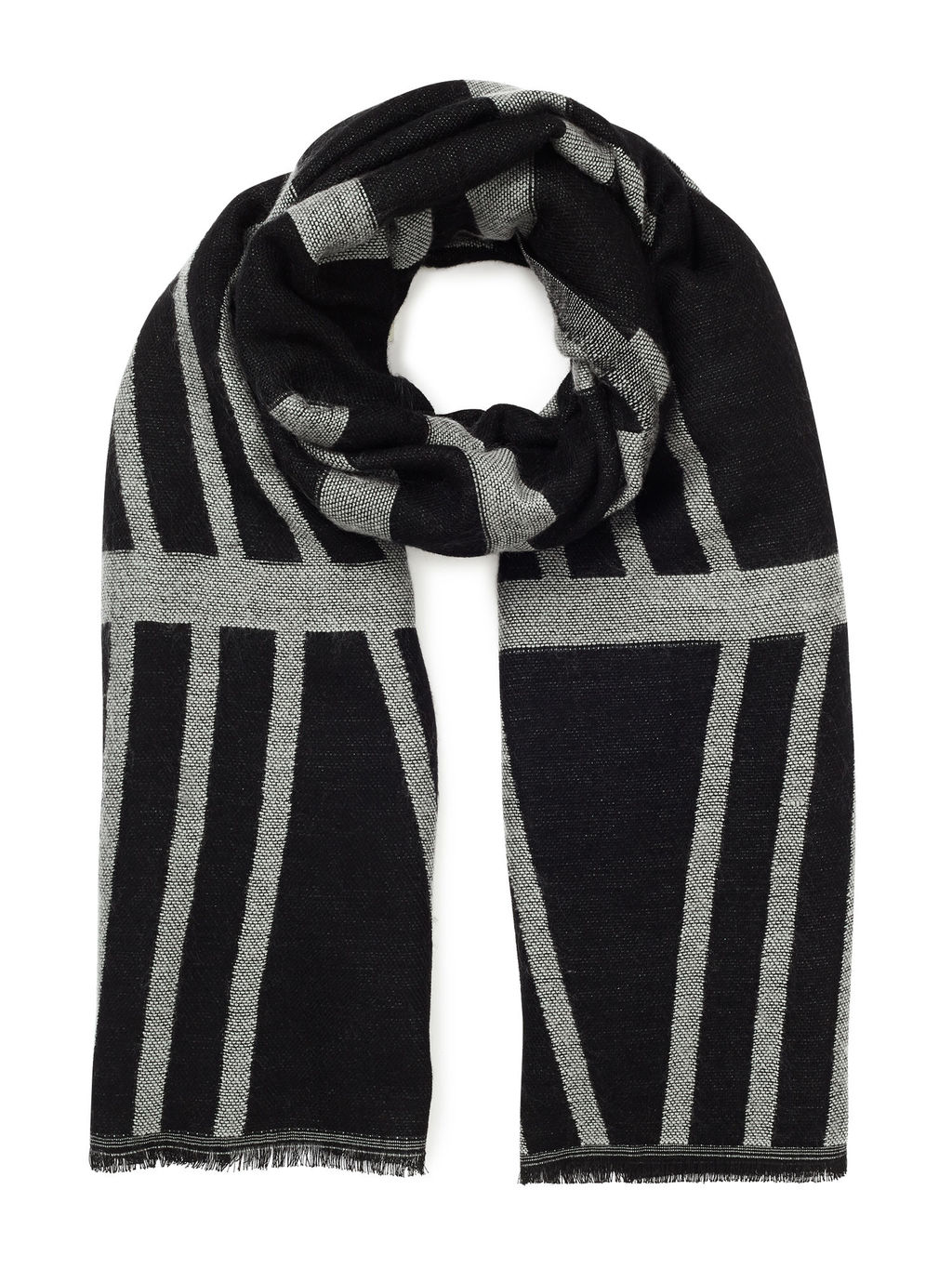Geo Stripe Scarf - secondary colour: light grey; predominant colour: black; occasions: casual; type of pattern: standard; style: regular; size: standard; material: knits; pattern: striped; season: a/w 2016; wardrobe: highlight