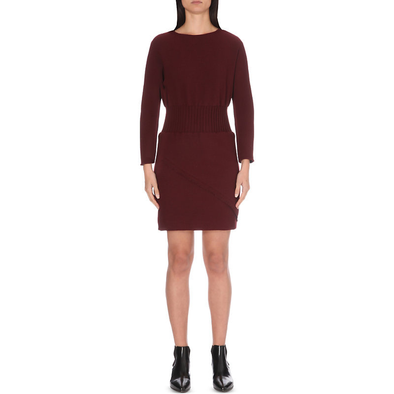 Rincy Knitted Dress, Women's, Size: Large, Maroon - style: jumper dress; pattern: plain; waist detail: belted waist/tie at waist/drawstring; predominant colour: burgundy; occasions: casual, creative work; length: just above the knee; fit: body skimming; fibres: wool - mix; neckline: crew; sleeve length: long sleeve; sleeve style: standard; texture group: knits/crochet; pattern type: knitted - fine stitch; season: a/w 2016; wardrobe: highlight