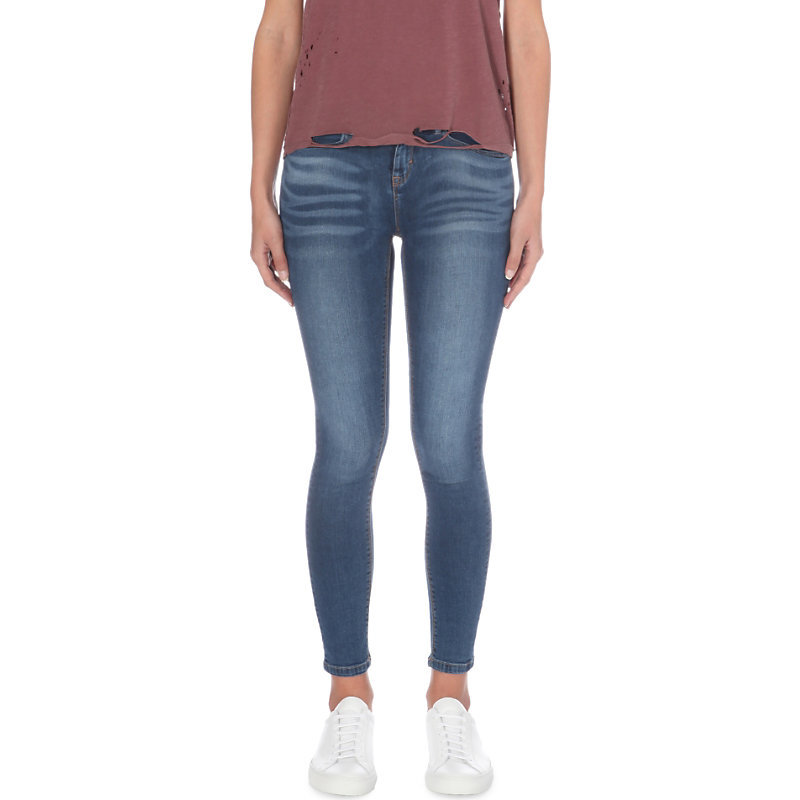 Freya Skinny Low Rise Jeans, Women's, Indigo Steel Blue - style: skinny leg; length: standard; pattern: plain; waist: low rise; pocket detail: traditional 5 pocket; predominant colour: navy; occasions: casual; fibres: cotton - stretch; jeans detail: whiskering, washed/faded; texture group: denim; pattern type: fabric; wardrobe: basic; season: a/w 2016