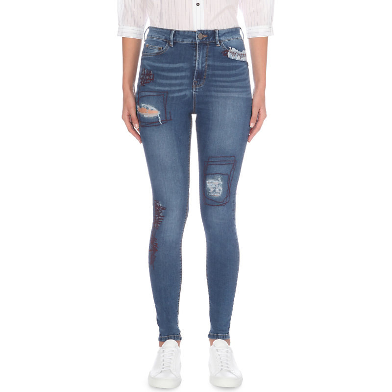 Anika Skinny High Rise Jeans, Women's, Indigo Trailer Blue Rnr - style: skinny leg; length: standard; pattern: plain; waist: high rise; pocket detail: traditional 5 pocket; predominant colour: denim; occasions: casual; fibres: cotton - stretch; jeans detail: whiskering, rips; texture group: denim; pattern type: fabric; season: a/w 2016
