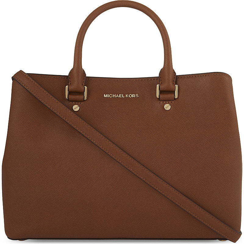 Savannah Large Leather Satchel, Women's, Luggage - predominant colour: tan; occasions: casual; type of pattern: standard; style: tote; length: handle; size: standard; material: leather; pattern: plain; finish: plain; season: a/w 2016; wardrobe: highlight