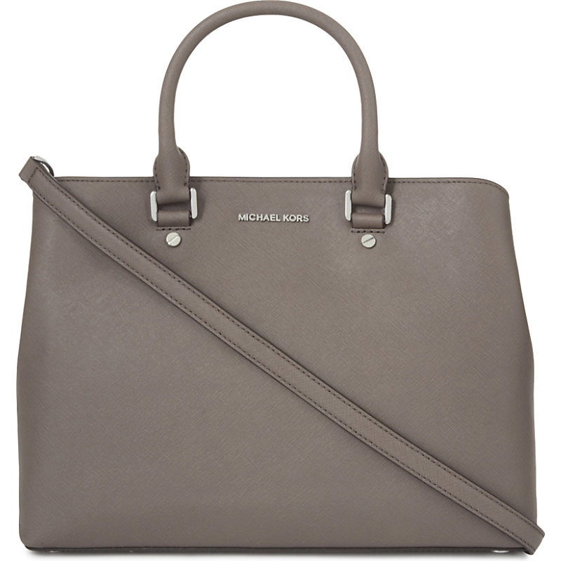 Savannah Large Leather Satchel, Women's, Cinder - predominant colour: mid grey; occasions: casual; type of pattern: standard; style: tote; length: handle; size: standard; material: leather; pattern: plain; finish: plain; wardrobe: investment; season: a/w 2016