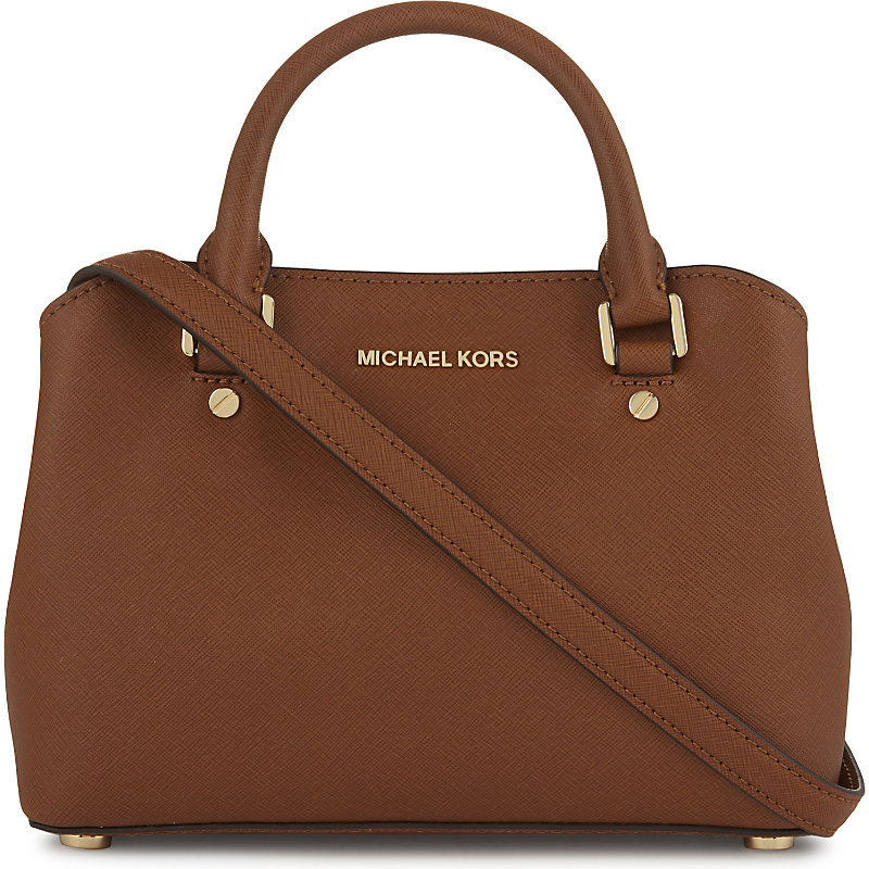 Savannah Small Saffiano Leather Satchel, Women's, Luggage - predominant colour: tan; occasions: casual; type of pattern: standard; style: tote; length: handle; size: standard; material: leather; pattern: plain; finish: plain; season: a/w 2016; wardrobe: highlight