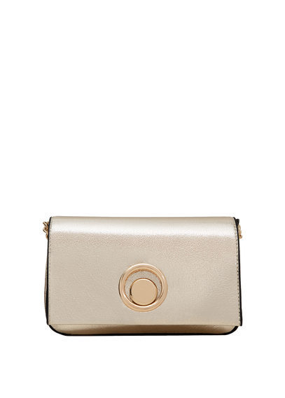 Chain Bag - predominant colour: gold; occasions: evening, occasion; type of pattern: standard; style: clutch; length: shoulder (tucks under arm); size: standard; material: faux leather; pattern: plain; finish: metallic; season: a/w 2016
