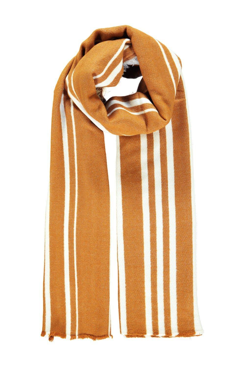 Varied Stripe Wool Oversize Scarf Mustard - predominant colour: mustard; occasions: casual, creative work; type of pattern: standard; style: regular; size: large; material: knits; pattern: vertical stripes; season: a/w 2016; wardrobe: highlight