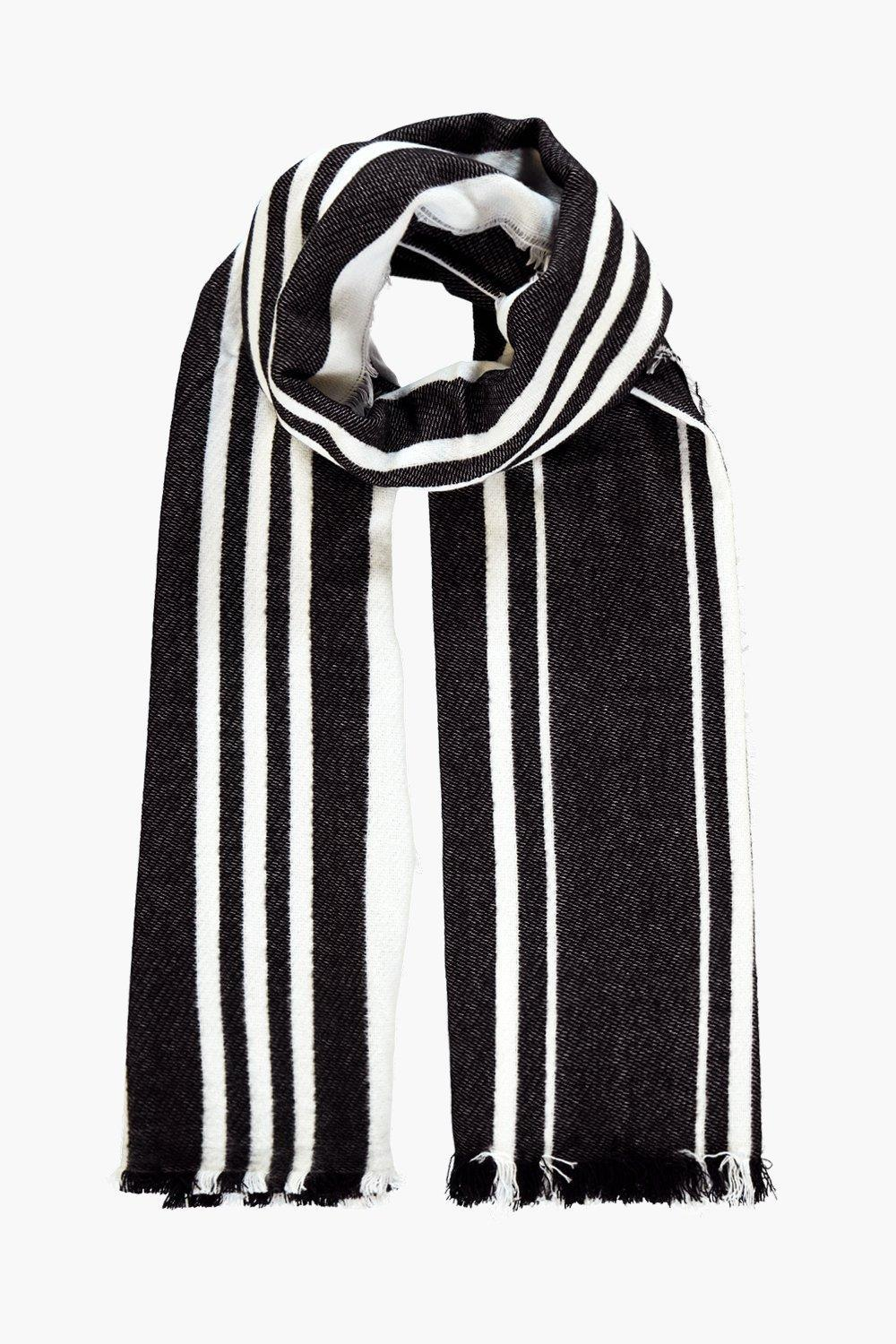 Varied Stripe Wool Oversize Scarf Black - secondary colour: white; predominant colour: black; occasions: casual, creative work; type of pattern: standard; style: regular; size: large; material: knits; pattern: vertical stripes; season: a/w 2016