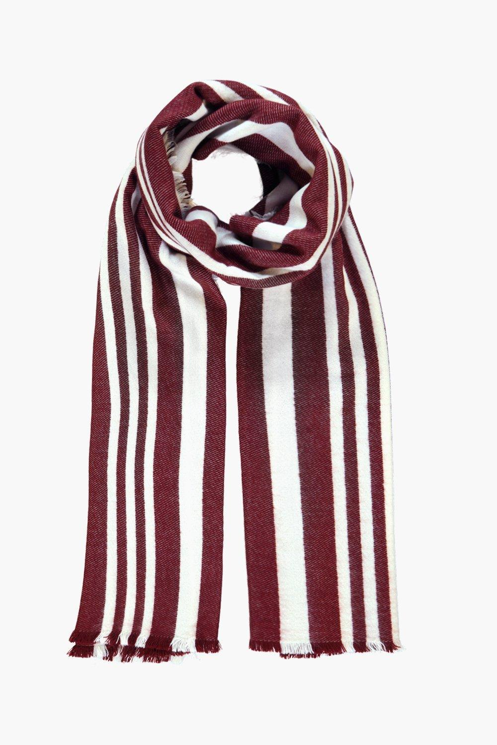 Varied Stripe Wool Oversized Scarf Terracotta - secondary colour: white; predominant colour: burgundy; occasions: casual, creative work; type of pattern: standard; style: regular; size: standard; material: knits; pattern: vertical stripes; season: a/w 2016; wardrobe: highlight