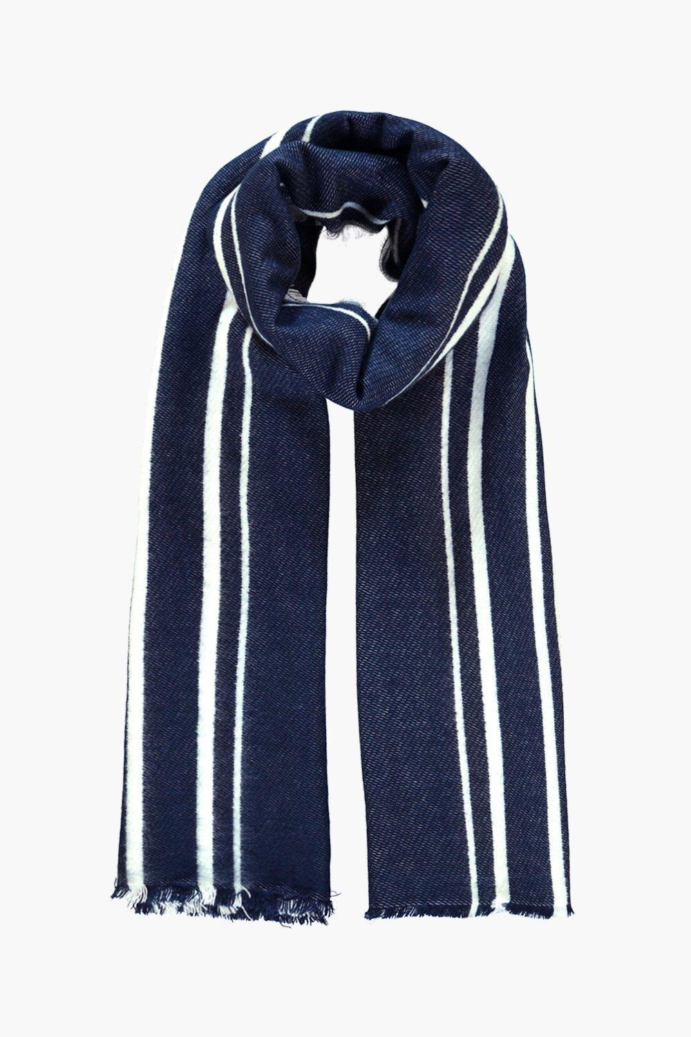 Varied Stripe Wool Oversized Scarf Navy - secondary colour: white; predominant colour: navy; occasions: casual, creative work; type of pattern: standard; style: regular; size: large; material: knits; pattern: vertical stripes; season: a/w 2016; wardrobe: highlight