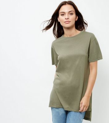 Olive Green Split Side Longline T Shirt - pattern: plain; length: below the bottom; style: t-shirt; predominant colour: khaki; occasions: casual; fibres: cotton - mix; fit: body skimming; neckline: crew; sleeve length: short sleeve; sleeve style: standard; pattern type: fabric; texture group: jersey - stretchy/drapey; wardrobe: basic; season: a/w 2016