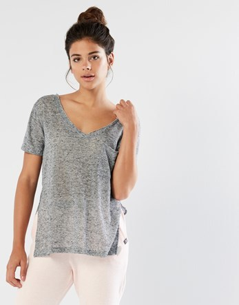 Basic T Shirt - neckline: low v-neck; pattern: plain; style: t-shirt; predominant colour: mid grey; occasions: casual; length: standard; fibres: polyester/polyamide - mix; fit: body skimming; sleeve length: short sleeve; sleeve style: standard; pattern type: fabric; texture group: jersey - stretchy/drapey; wardrobe: basic; season: a/w 2016
