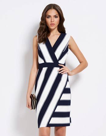 Abstract Scuba Dress - style: faux wrap/wrap; neckline: v-neck; sleeve style: sleeveless; pattern: striped; hip detail: draws attention to hips; predominant colour: white; secondary colour: navy; occasions: evening; length: just above the knee; fit: body skimming; fibres: polyester/polyamide - stretch; sleeve length: sleeveless; pattern type: fabric; texture group: jersey - stretchy/drapey; multicoloured: multicoloured; season: s/s 2016; wardrobe: event