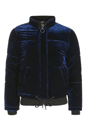 Velvet Puffer Jacket - pattern: plain; length: standard; style: single breasted; collar: high neck; predominant colour: navy; occasions: casual; fit: straight cut (boxy); fibres: polyester/polyamide - 100%; sleeve length: long sleeve; sleeve style: standard; collar break: high; pattern type: fabric; texture group: velvet/fabrics with pile; season: a/w 2016; wardrobe: highlight; trends: velvet