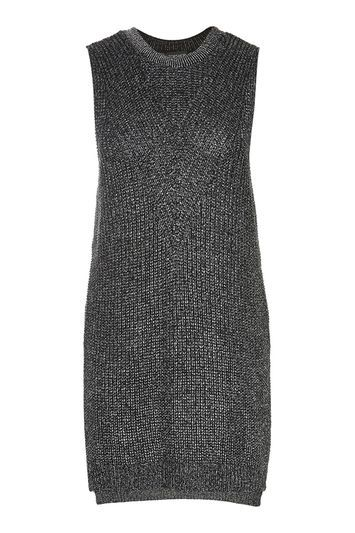 Metallic Sleeveless Tabard Vest - pattern: plain; sleeve style: sleeveless; length: below the bottom; style: vest top; predominant colour: silver; occasions: casual; fibres: acrylic - mix; fit: body skimming; neckline: crew; sleeve length: sleeveless; pattern type: fabric; texture group: jersey - stretchy/drapey; season: a/w 2016; wardrobe: highlight