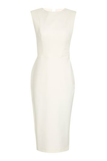 Cutout Side Midi Dress - style: shift; pattern: plain; sleeve style: sleeveless; predominant colour: ivory/cream; occasions: evening, creative work; length: on the knee; fit: body skimming; fibres: polyester/polyamide - stretch; neckline: crew; sleeve length: sleeveless; pattern type: fabric; texture group: jersey - stretchy/drapey; trends: chic girl, glossy girl; wardrobe: investment; season: a/w 2016