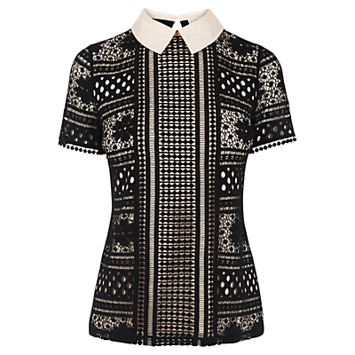Collared Lace T Shirt - style: t-shirt; predominant colour: black; occasions: casual, evening; length: standard; fibres: polyester/polyamide - stretch; fit: body skimming; neckline: no opening/shirt collar/peter pan; sleeve length: short sleeve; sleeve style: standard; pattern type: fabric; pattern size: standard; pattern: patterned/print; texture group: jersey - stretchy/drapey; embellishment: lace; season: a/w 2016; wardrobe: highlight
